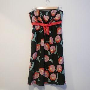 Anna Sui Anthropologie Silk Strapless Print Dress